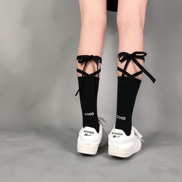 Good Mood Bow Tie High Socks 3 - My Sweet Outfit - EGirl Outfits - Soft Girl Clothes Aesthetic - Grunge Fashion Grime Hip Emo Rap Trap