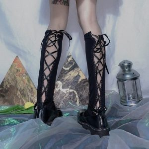Goth Aesthetic Dark Bandage Socks 1 - My Sweet Outfit - EGirl Outfits - Soft Girl Clothes Aesthetic - Grunge Fashion Grime Hip Emo Rap Trap