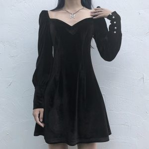 Goth Velvet Square Collar Little Black Dress 4 - My Sweet Outfit - EGirl Outfits - Soft Girl Clothes Aesthetic - Grunge Fashion Tumblr Hip Emo Rap Trap