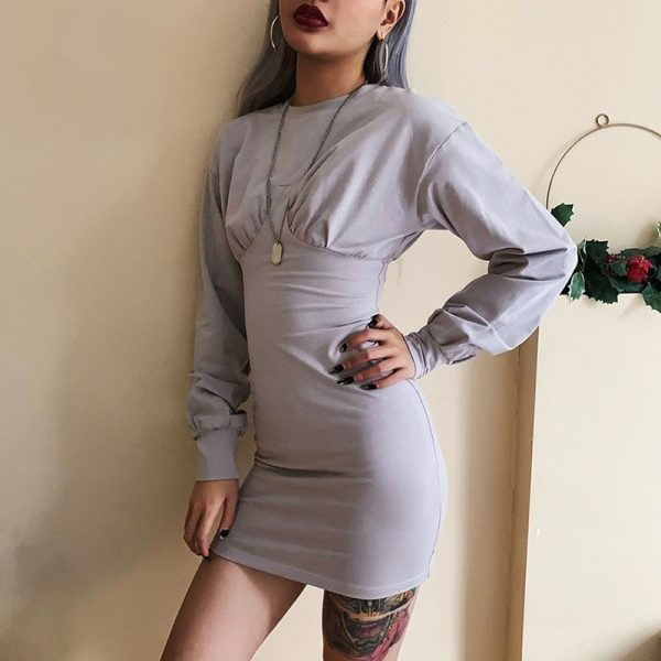 Gray Sleeve Lanterns Slim Dress 1 - My Sweet Outfit - EGirl Outfits - Soft Girl Clothes Aesthetic