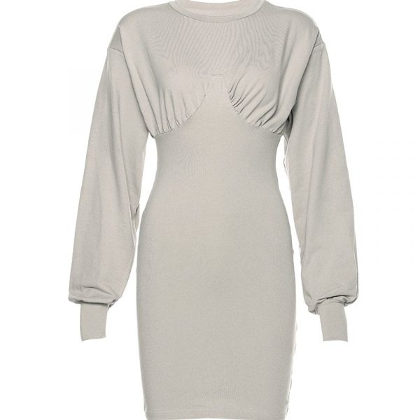 Gray Sleeve Lanterns Slim Dress 2 - My Sweet Outfit - EGirl Outfits - Soft Girl Clothes Aesthetic