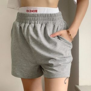 Gray Sport Wide Leg Home Shorts 2 - My Sweet Outfit - EGirl Outfits - Soft Girl Clothes Aesthetic - Grunge Fashion Tumblr Hip Emo Rap Trap