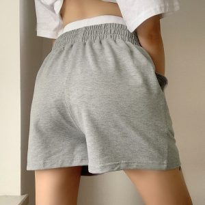 Gray Sport Wide Leg Home Shorts 5 - My Sweet Outfit - EGirl Outfits - Soft Girl Clothes Aesthetic - Grunge Fashion Tumblr Hip Emo Rap Trap