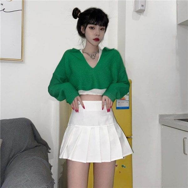 Green Cropped Plunge Knit Sweater 2 - My Sweet Outfit - EGirl Outfits - Soft Girl Clothes Aesthetic - Grunge Fashion Tumblr Hip Emo Rap Trap