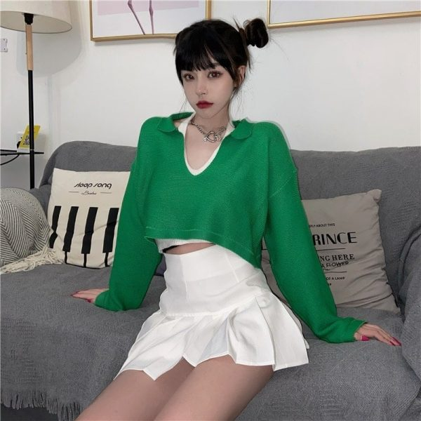 Green Cropped Plunge Knit Sweater 3 - My Sweet Outfit - EGirl Outfits - Soft Girl Clothes Aesthetic - Grunge Fashion Tumblr Hip Emo Rap Trap