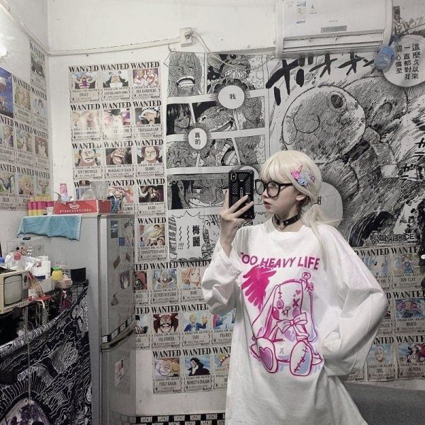 Harajuku Style Rabbit Print Sweatshirt 2 - My Sweet Outfit - EGirl Outfits - Soft Girl Clothes Aesthetic - Grunge Fashion Grime Hip Emo Rap Trap