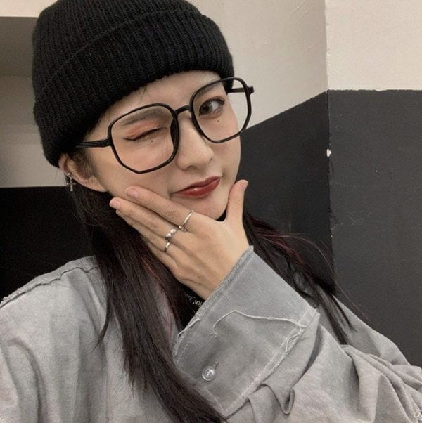 Harajuku Style Retro Lensless Square Glasses 1 - My Sweet Outfit - EGirl Outfits - Soft Girl Clothes Aesthetic - Grunge Fashion Grime Hip Emo Rap Trap