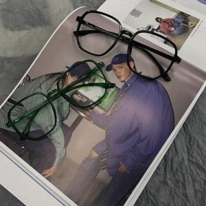 Harajuku Style Retro Lensless Square Glasses 2 - My Sweet Outfit - EGirl Outfits - Soft Girl Clothes Aesthetic - Grunge Fashion Grime Hip Emo Rap Trap
