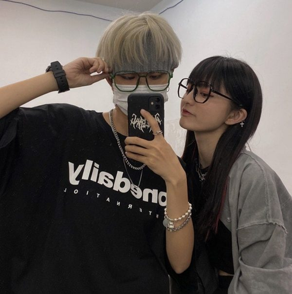 Harajuku Style Retro Lensless Square Glasses 4 - My Sweet Outfit - EGirl Outfits - Soft Girl Clothes Aesthetic - Grunge Fashion Grime Hip Emo Rap Trap