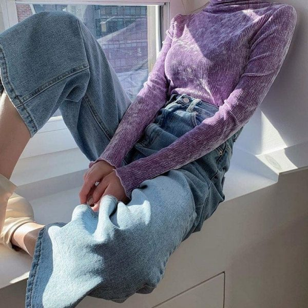 High-Neck Velvet Sweatshirt 1 - My Sweet Outfit - EGirl Outfits - Soft Girl Clothes Aesthetic - Grunge Fashion Grime Hip Emo Rap Trap