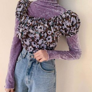 High-Neck Velvet Sweatshirt 2 - My Sweet Outfit - EGirl Outfits - Soft Girl Clothes Aesthetic - Grunge Fashion Grime Hip Emo Rap Trap