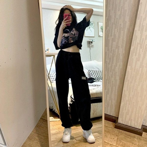 High Waist Letter Patch Sport Pants 1 - My Sweet Outfit - EGirl Outfits - Soft Girl Clothes Aesthetic - Grunge Fashion Tumblr Hip Emo Trap