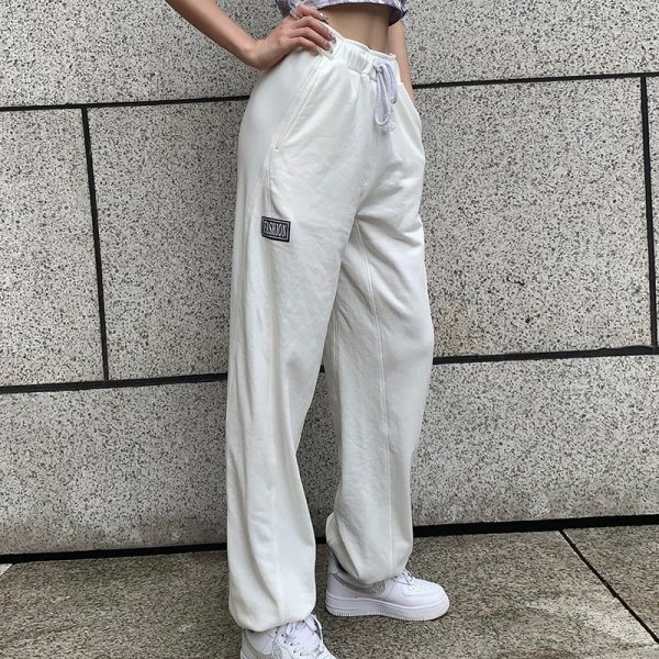 High Waist Letter Patch Sport Pants 2 - My Sweet Outfit - EGirl Outfits - Soft Girl Clothes Aesthetic - Grunge Fashion Tumblr Hip Emo Trap