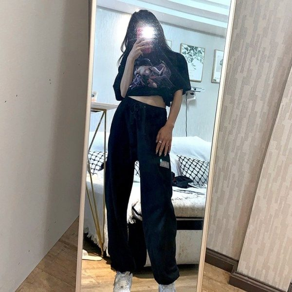 High Waist Letter Patch Sport Pants 3 - My Sweet Outfit - EGirl Outfits - Soft Girl Clothes Aesthetic - Grunge Fashion Tumblr Hip Emo Trap