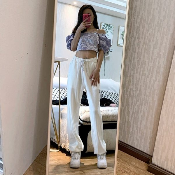 High Waist Letter Patch Sport Pants 4 - My Sweet Outfit - EGirl Outfits - Soft Girl Clothes Aesthetic - Grunge Fashion Tumblr Hip Emo Trap