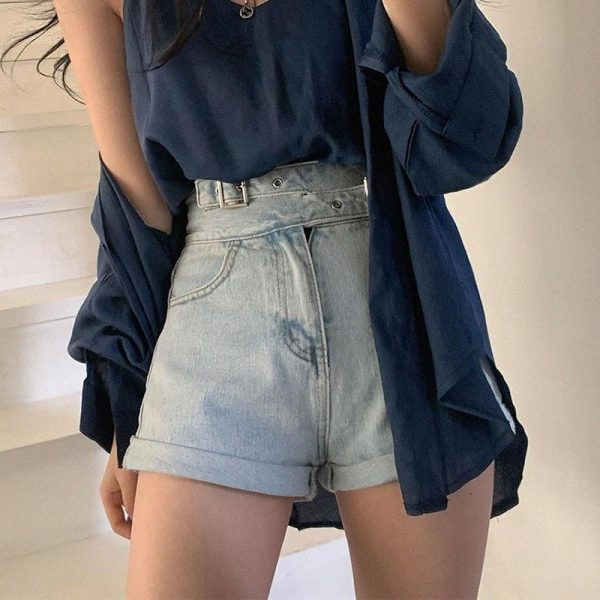 High Waist Slim Jeans Shorts 1 - My Sweet Outfit - EGirl Outfits - Soft Girl Clothes Aesthetic - Grunge Fashion Tumblr Hip Emo Rap Trap