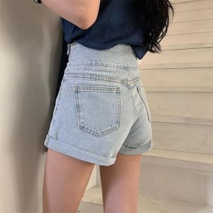 High Waist Slim Jeans Shorts 2 - My Sweet Outfit - EGirl Outfits - Soft Girl Clothes Aesthetic - Grunge Fashion Tumblr Hip Emo Rap Trap