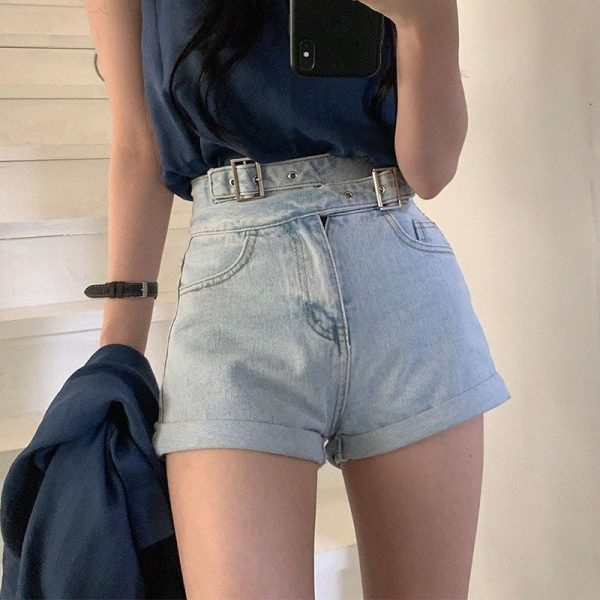 High Waist Slim Jeans Shorts 4 - My Sweet Outfit - EGirl Outfits - Soft Girl Clothes Aesthetic - Grunge Fashion Tumblr Hip Emo Rap Trap