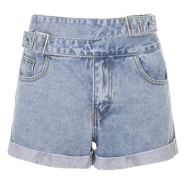 High Waist Slim Jeans Shorts 5 - My Sweet Outfit - EGirl Outfits - Soft Girl Clothes Aesthetic - Grunge Fashion Tumblr Hip Emo Rap Trap
