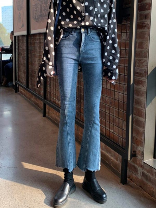 Irregular Retro Flare Rriped Jeans 1 - My Sweet Outfit - EGirl Outfits - Soft Girl Clothes Aesthetic