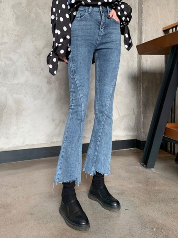 Irregular Retro Flare Rriped Jeans 4 - My Sweet Outfit - EGirl Outfits - Soft Girl Clothes Aesthetic