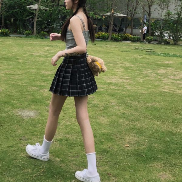 Japanese Style Black And White Plaid Skirt 1 - My Sweet Outfit - EGirl Outfits - Soft Girl Clothes Aesthetic - Grunge Fashion Grime Hip Emo Rap Trap