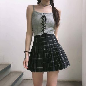 Japanese Style Black And White Plaid Skirt 2 - My Sweet Outfit - EGirl Outfits - Soft Girl Clothes Aesthetic - Grunge Fashion Grime Hip Emo Rap Trap