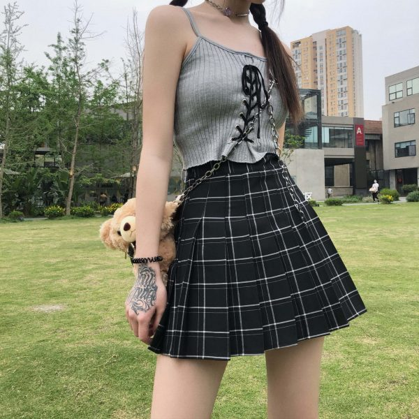 Japanese Style Black And White Plaid Skirt 3 - My Sweet Outfit - EGirl Outfits - Soft Girl Clothes Aesthetic - Grunge Fashion Grime Hip Emo Rap Trap