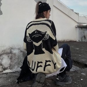 Korean Harajuku Oversized Sweater 4 - My Sweet Outfit - EGirl Outfits - Soft Girl Clothes Aesthetic - Grunge Fashion Tumblr Hip Emo Rap Trap