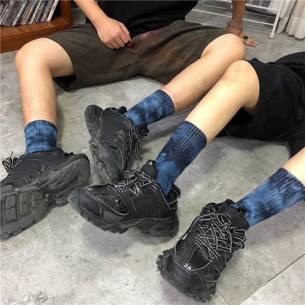 Korean Street Tie Dye Sports Socks 4 - My Sweet Outfit - EGirl Outfits - Soft Girl Clothes Aesthetic - Grunge Fashion Grime Hip Emo Rap Trap