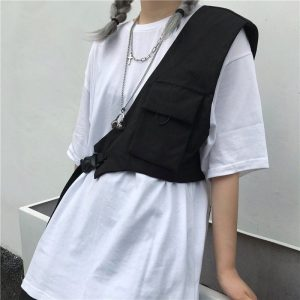 Korean Style Crossbody Bag With Pocket 1 - My Sweet Outfit - EGirl Outfits - Soft Girl Clothes Aesthetic - Grunge Fashion Grime Hip Emo Rap Trap