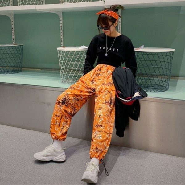 Korean Style Letter Printed Pockets Pants 1 - My Sweet Outfit - EGirl Outfits - Soft Girl Clothes Aesthetic - Grunge Fashion Tumblr Hip Emo Rap Trap