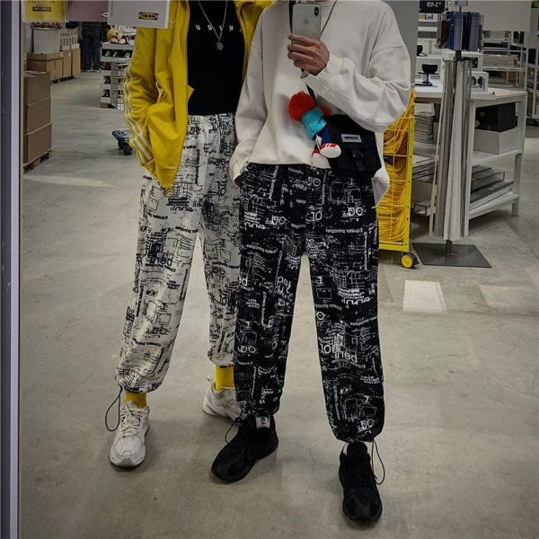 Korean Style Letter Printed Pockets Pants 2 - My Sweet Outfit - EGirl Outfits - Soft Girl Clothes Aesthetic - Grunge Fashion Tumblr Hip Emo Rap Trap