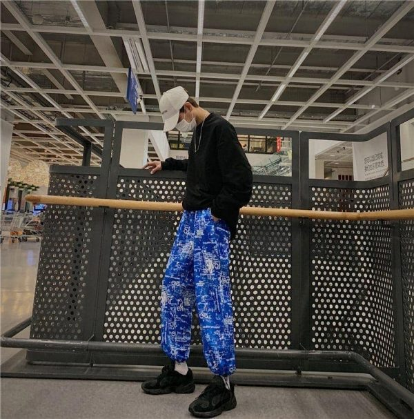 Korean Style Letter Printed Pockets Pants 3 - My Sweet Outfit - EGirl Outfits - Soft Girl Clothes Aesthetic - Grunge Fashion Tumblr Hip Emo Rap Trap