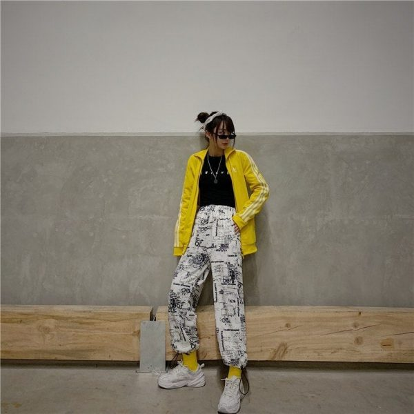 Korean Style Letter Printed Pockets Pants 4 - My Sweet Outfit - EGirl Outfits - Soft Girl Clothes Aesthetic - Grunge Fashion Tumblr Hip Emo Rap Trap