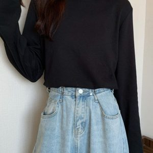 Lace Stitching Half High Collar Sweatshirt 3 - My Sweet Outfit - EGirl Outfits - Soft Girl Clothes Aesthetic - Grunge Fashion Tumblr Hip Emo Rap Trap