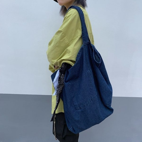 Large Denim Shoulder Bag 1 - My Sweet Outfit - EGirl Outfits - Soft Girl Clothes Aesthetic