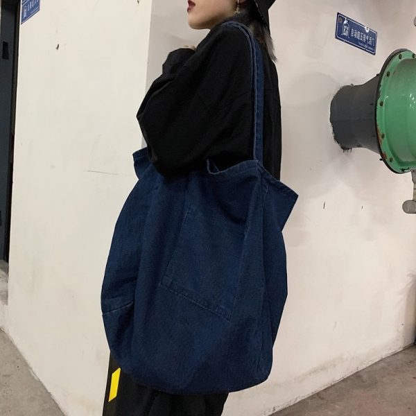 Large Denim Shoulder Bag 3 - My Sweet Outfit - EGirl Outfits - Soft Girl Clothes Aesthetic