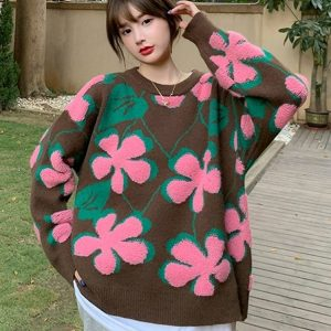 Large Pullover Vintage Flower Sweater 1 - My Sweet Outfit - EGirl Outfits - Soft Girl Clothes Aesthetic - Grunge Fashion Tumblr Hip Emo Rap Trap