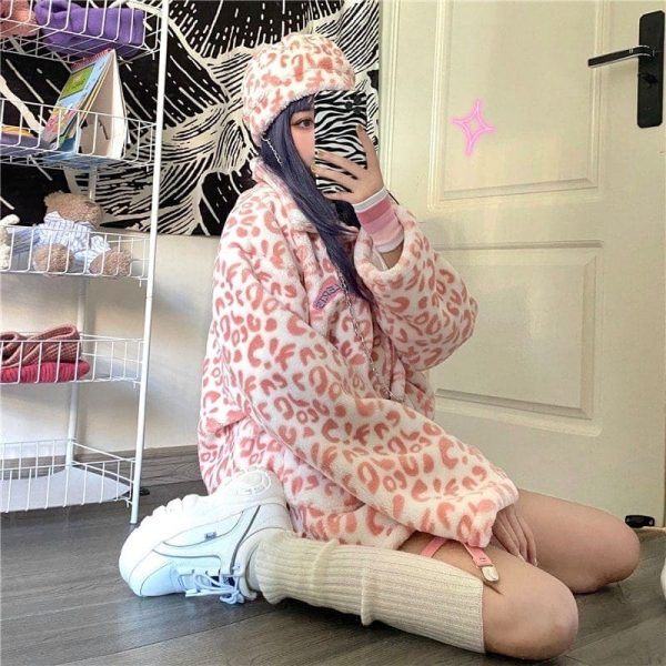 Leopard Lamb Wool Coat 2 - My Sweet Outfit - EGirl Outfits - Soft Girl Clothes Aesthetic - Grunge Fashion Tumblr Hip Emo Rap Trap