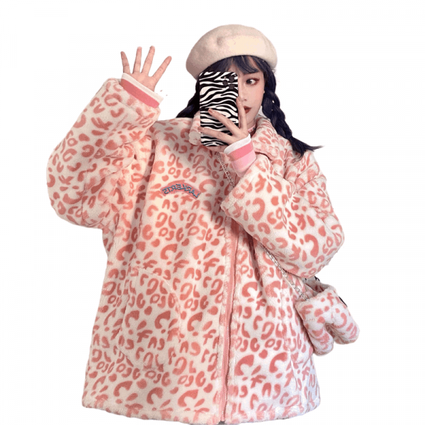 Leopard Lamb Wool Coat 3 - My Sweet Outfit - EGirl Outfits - Soft Girl Clothes Aesthetic - Grunge Fashion Tumblr Hip Emo Rap Trap