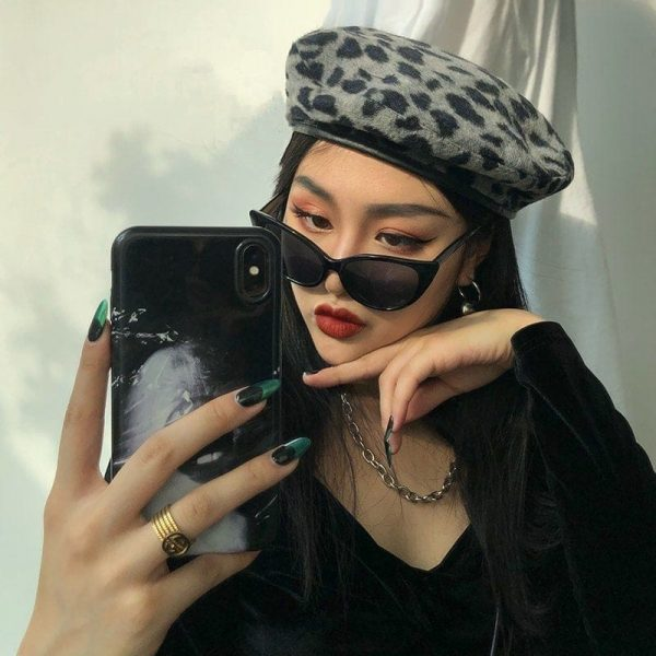 Leopard Style Autumn Warm Beret 1 - My Sweet Outfit - EGirl Outfits - Soft Girl Clothes Aesthetic - Grunge Fashion Grime Hip Emo Rap Trap
