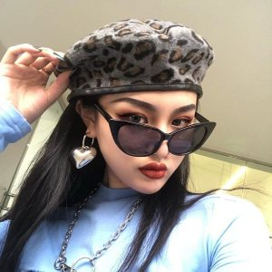 Leopard Style Autumn Warm Beret 2 - My Sweet Outfit - EGirl Outfits - Soft Girl Clothes Aesthetic - Grunge Fashion Grime Hip Emo Rap Trap