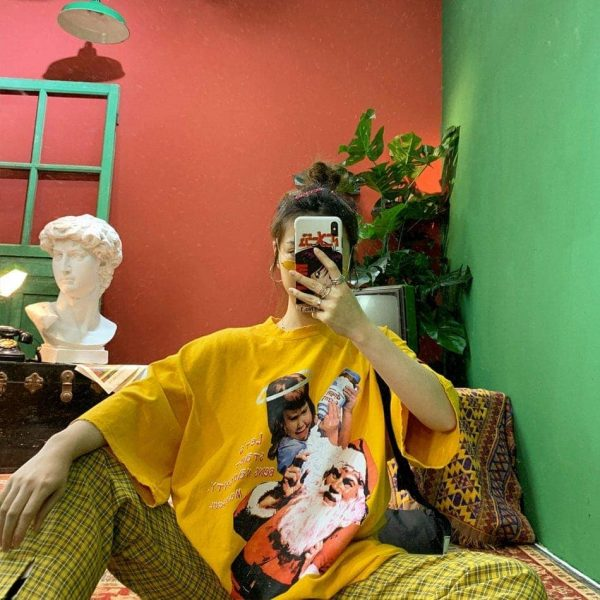 Lets Start Naughty Loose Tee 2 - My Sweet Outfit - EGirl Outfits - Soft Girl Clothes Aesthetic - Grunge Fashion Grime Hip Emo Rap Trap