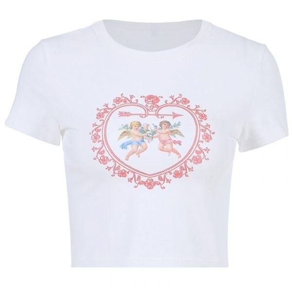 Little Angel Pattern Slim Crop Top 4 - My Sweet Outfit - EGirl Outfits - Soft Girl Clothes Aesthetic - Grunge Fashion Grime Hip Emo Rap Trap