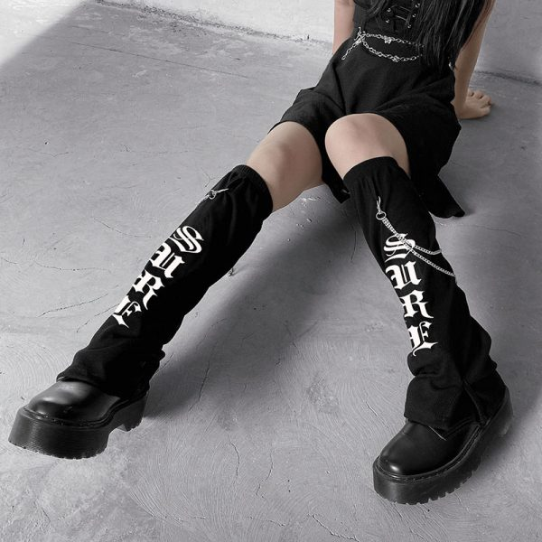 Long Cotton Printed Socks 1 - My Sweet Outfit - EGirl Outfits - Soft Girl Clothes Aesthetic - Grunge Fashion Grime Hip Emo Rap Trap