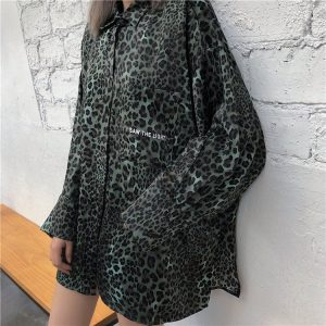 Long Sleeved Leopard Print Egirl Shirt 1 - My Sweet Outfit - EGirl Outfits - Soft Girl Clothes Aesthetic - Grunge Fashion Grime Hip Emo Rap Trap