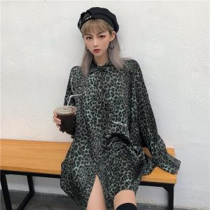 Long Sleeved Leopard Print Egirl Shirt 2 - My Sweet Outfit - EGirl Outfits - Soft Girl Clothes Aesthetic - Grunge Fashion Grime Hip Emo Rap Trap