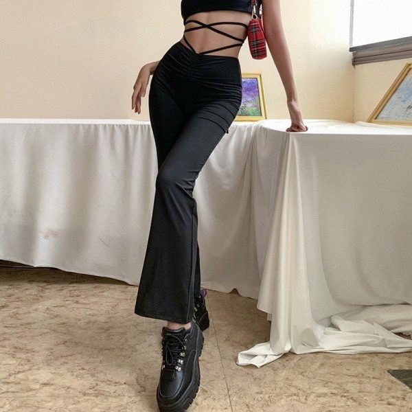 Long Straight Black High Waisted Strap Trousers 3 - My Sweet Outfit - EGirl Outfits - Soft Girl Clothes Aesthetic - Grunge Fashion Grime Hip Emo Rap Trap