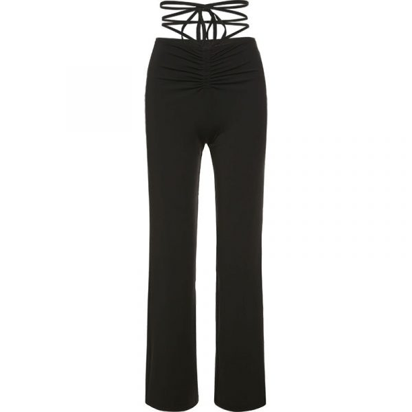 Long Straight Black High Waisted Strap Trousers 4 - My Sweet Outfit - EGirl Outfits - Soft Girl Clothes Aesthetic - Grunge Fashion Grime Hip Emo Rap Trap
